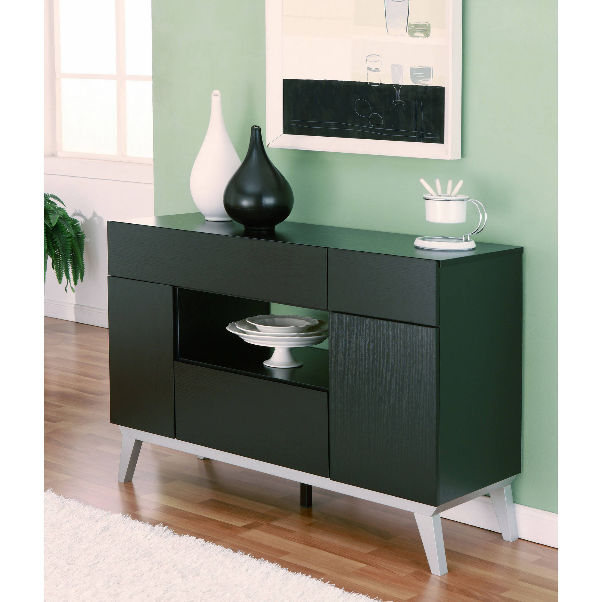 Furniture of America Feran Modern Multi-Storage Buffet Table, Black by Furniture of America