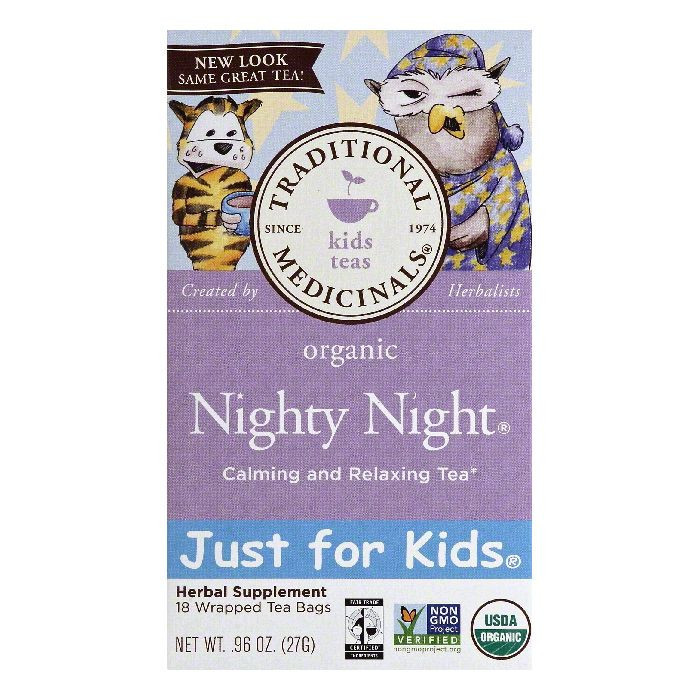 Traditional Medicinals Wrapped Tea Bags Nighty Night Organic Calming and Relaxing Tea, 18 ea (Pack of 6)