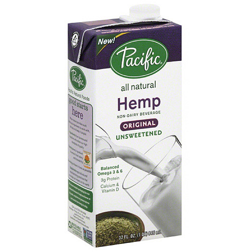 Pacific Original Unsweetened All Natural Hemp Non-Dairy Beverage, 32 fl oz, (Pack of 12)