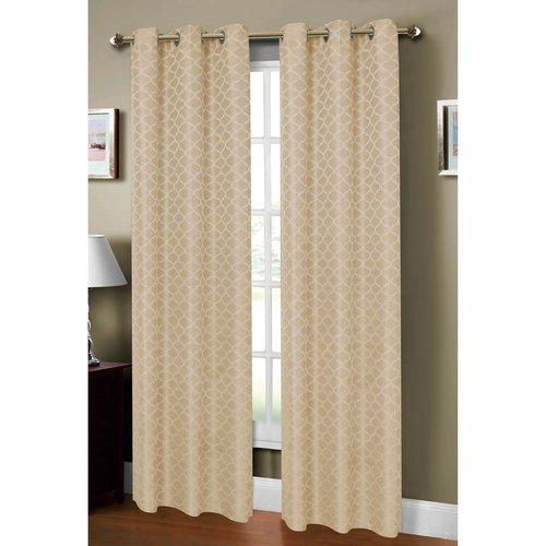 Sonata Faux Linen Jacquard Grommet Curtain Panels by YMF Carpets Inc.