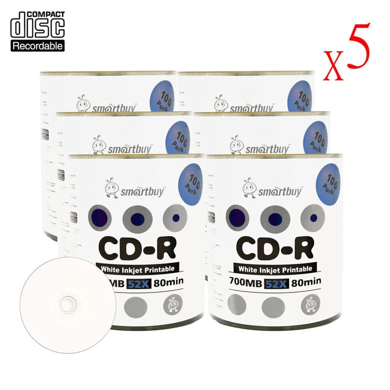 3000 Pack Smartbuy 52X CD-R 700MB 80Min White Inkjet Hub Printable Data Blank Media Recordable Disc