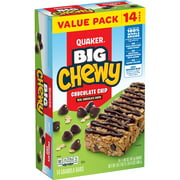Quaker Big Chewy Granola Bars, 60% Larger, Chocolate Chip, (14 Pack)