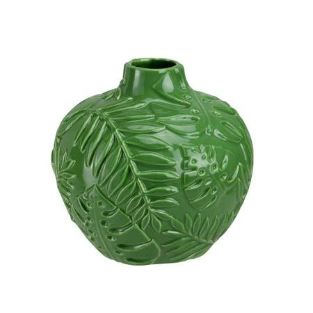 "Northlight 6.25"" Fern Leaf Ceramic Flower Vase - Green"