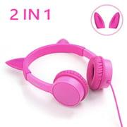 Kids Headphones,2 in 1 Cat/Bunny Ear Headphones On-Ear Headphones Volume Limited Headsets Best Gift for Kids, Girls, Children (Pink)
