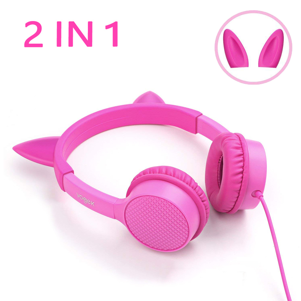 Kids Headphones,2 in 1 Cat/Bunny Ear Headphones On-Ear Headphones Volume Limited Headsets Best Gift for Kids, Girls, Children (Pink)