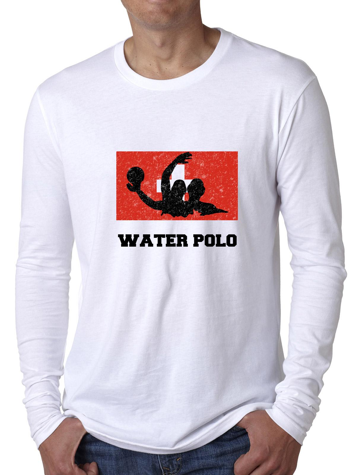 Switzerland Olympic Water Polo Flag Silhouette Men's Long Sleeve T-Shirt by Hollywood Thread