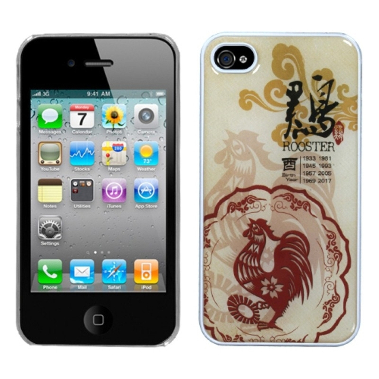 Insten Chicken-Chinese Zodiac Collection Dream Back Case For iPhone 4 4S