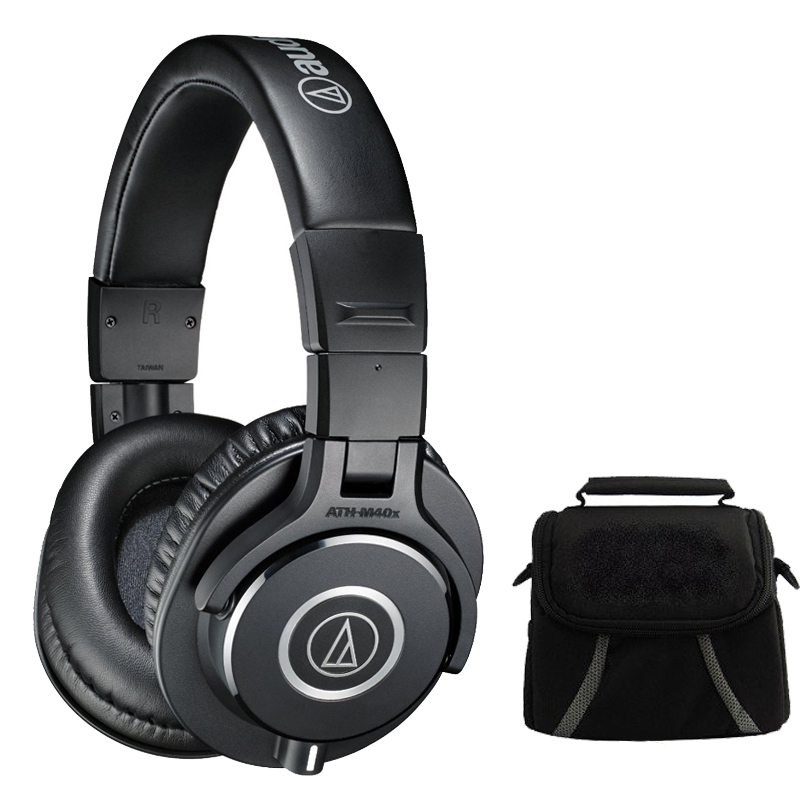 Audio-Technica ATH-M40x Professional Headphones Deluxe Bundle - Includes Headphones and Compact Deluxe Gadget Bag for Cameras/Camcorders