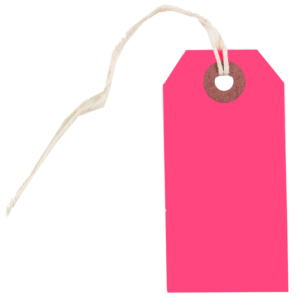 JAM Paper Gift Tags with String, Small, 3 1/4 x 1 5/8, Neon Pink, 100/pack