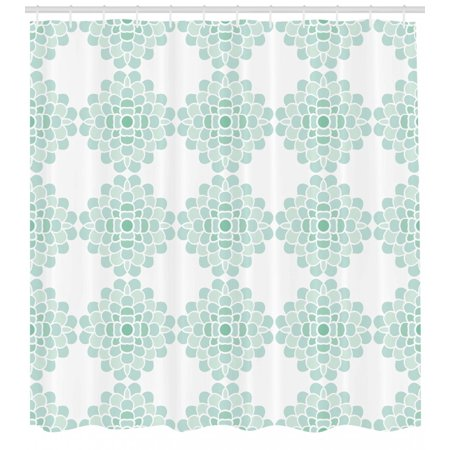 Floral Shower Curtain, Abstract Horizontal Lines Geometric Bold Thin Stripes Ocean Themed Illustration, Fabric Bathroom Set with Hooks, Seafoam White, by Ambesonne ()