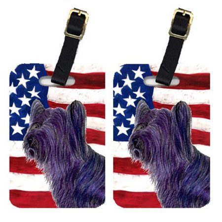Carolines Treasures SS4219BT Pair Of USA American Flag With Skye Terrier Luggage Tags - image 1 de 1