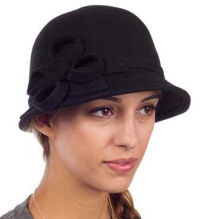 Womens Bernadette Vintage Style 100% Wool Cloche Bucket Winter Hat with Flower Accent - Black/One (Womans Cloche Hat)