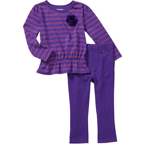 Garanimals Baby Girls' 2 Piece Stripe Peplum Tee and Jegging Set