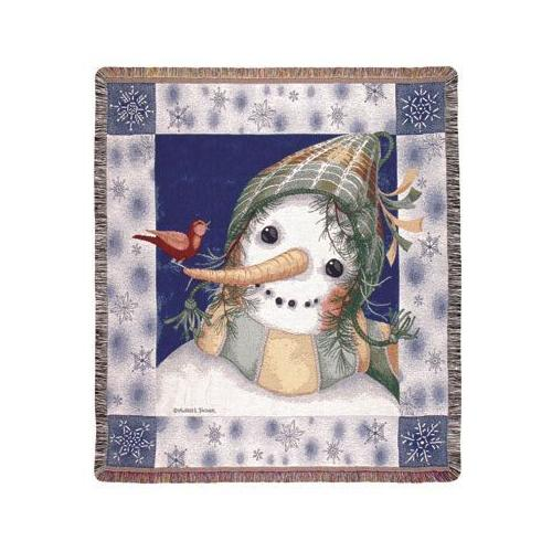 "Snowman and Bird Holiday Christmas Tapestry Throw Blanket 50"" x 60"""