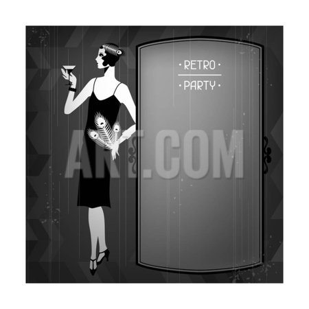 Retro Party Background with Beautiful Girl of 1920s Style Print Wall Art By incomible (1920s Room Decor)