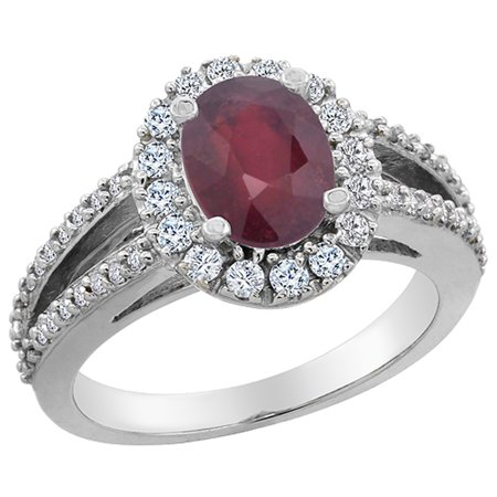 8x6 Oval Ring - 14K White Gold Natural HQ Ruby Halo Ring Oval 8x6 mm with Diamond Accents, size 6