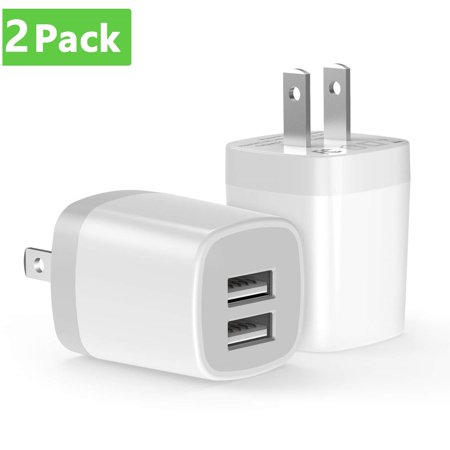 2 Pack USB Wall Charger, dual USB Charger Adapter, Vogek 2-Pack 3.1Amp Dual Port Quick Charger Plug Cube Replacement for Cell Phone, MP3, Bluetooth Speaker Headset and More Bluetooth Headset Car Charger Adapter