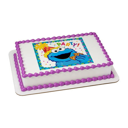Sesame Street Cookie Monster Edible Icing Image for 1/4 sheet cake (Sesame Street Cakes)