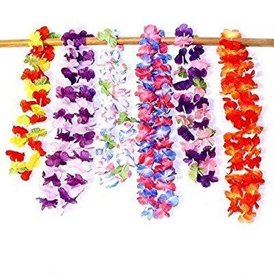 Dazzling Toys Hawaiian Ruffled Simulated Silk Flower Leis- Pack of 12
