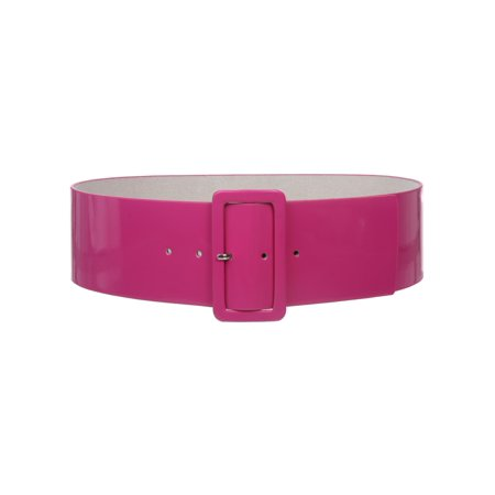 Ladies High Waist Patent Leather Wide Fashion Square Belt - Floral Patent Belt