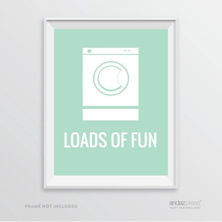 Loads of Fun Washing Machine Graphic, Mint Green Laundry Room Wall Art Decor Graphic Signs - Mint Room Decor