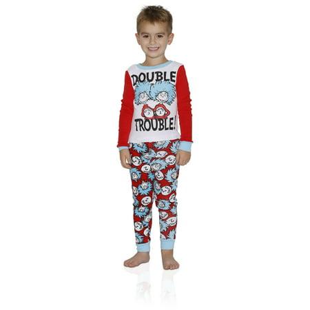 Dr Seuss Outfits For Adults (Dr. Seuss Boys Tight Fit Cotton Pajama 2 Piece Sleepwear Set, Double Trouble, Size: Large)