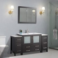 "Vanity Art 54"" Single Sink Bathroom Vanity Combo Set - Modern Bathroom Storage Solid Wood Ceramic Top Under Sink Cabinet with Mirror"