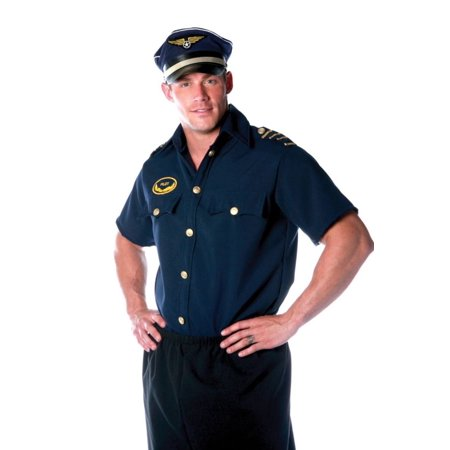 Pilot Shirt Men's Adult Halloween Costume (The Halloween Party Poirot)
