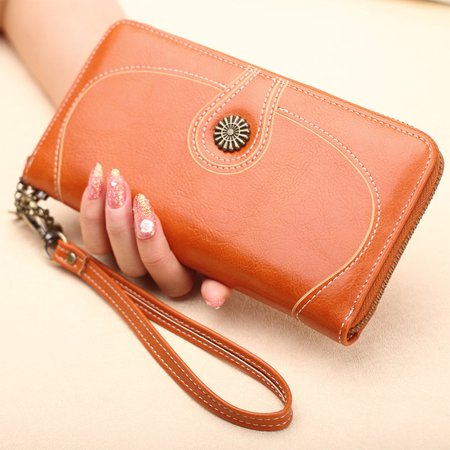 - Women Large Capacity PU Leather Wallet Coin Purse Card Case Cell Phone Clutch Bag Handbag for Lady Gift