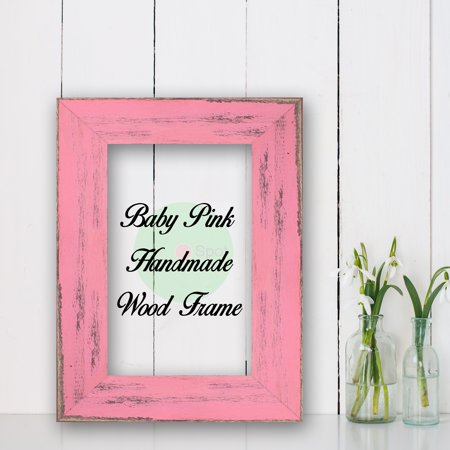 Baby Pink Cottage Beach Decor Wood Frame Perfect for Picture Photo Poster Wedding Art Artwork (Picture Framing Boynton Beach)