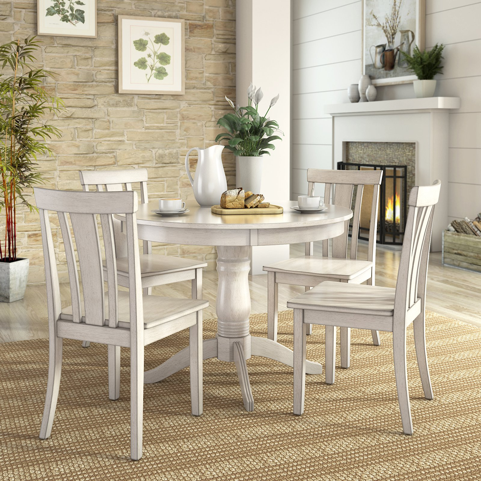 lexington 5piece dining set with round table and 4 slat