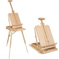 Ktaxon French Folding Durable Tripod Painting Drawing Easel Display Stand Holder Floor with Wooden Sketch Box Drawer Storage Portable Art Craft Painter Studio
