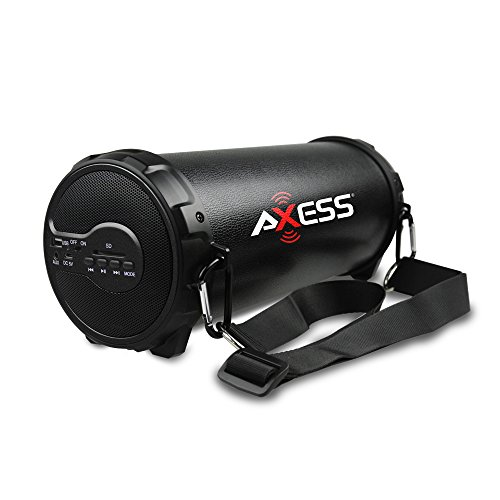 """AXESS SPBT1038BK Portable Bluetooth Indoor/Outdoor 2.1 Hi-Fi Cylinder Loud Speaker with Built-In 3"""" Sub and SD Card, USB, AUX Inputs in Black"""