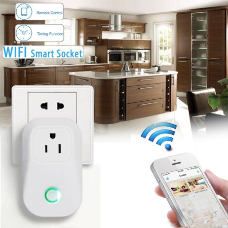 2200W 10A Smart Wifi Wireless Remote Control Socket Timer Outlet, ON/OFF Switch APP Control For Android / IOS Smartphone US