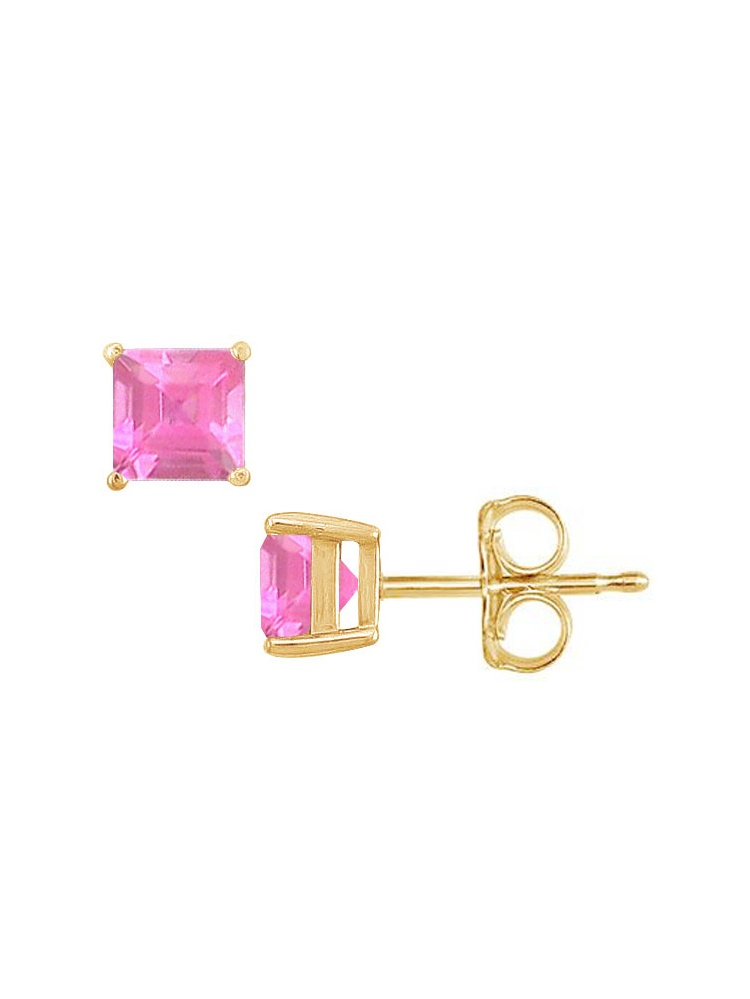 December Birthstone Square Pink Topaz Stud Earrings by Love Bright