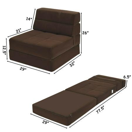 Tri Fold Fold Down Chair Flip Out Lounger Convertible