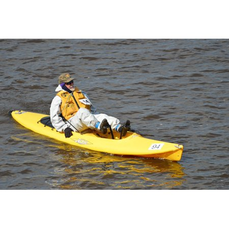 canvas print boat yellow canoe kayak rafting man adventure stretched