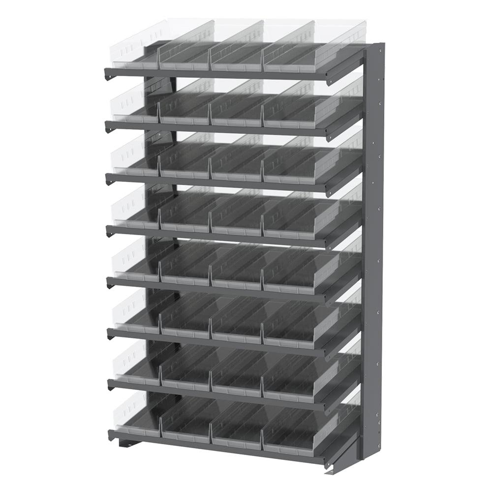 18 1-Sided Pick Rack, 36 Shelf Bins, Gray/Clear