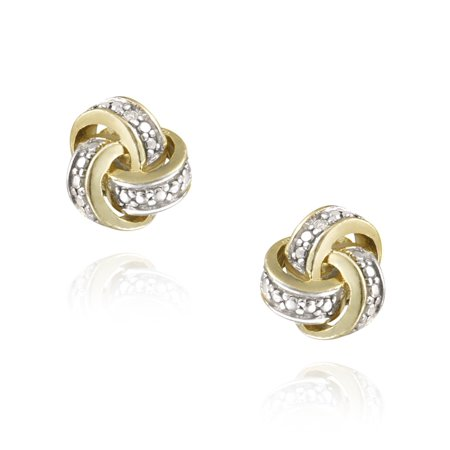 18K Gold Plated Diamond Accent Love Knot (White Gold Love Knot Earrings)