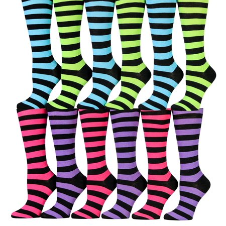 12 Pairs Of Wsd Womens Knee High Socks Assorted Colors  Cotton Boot Socks  Assorted  Colorful Stripes
