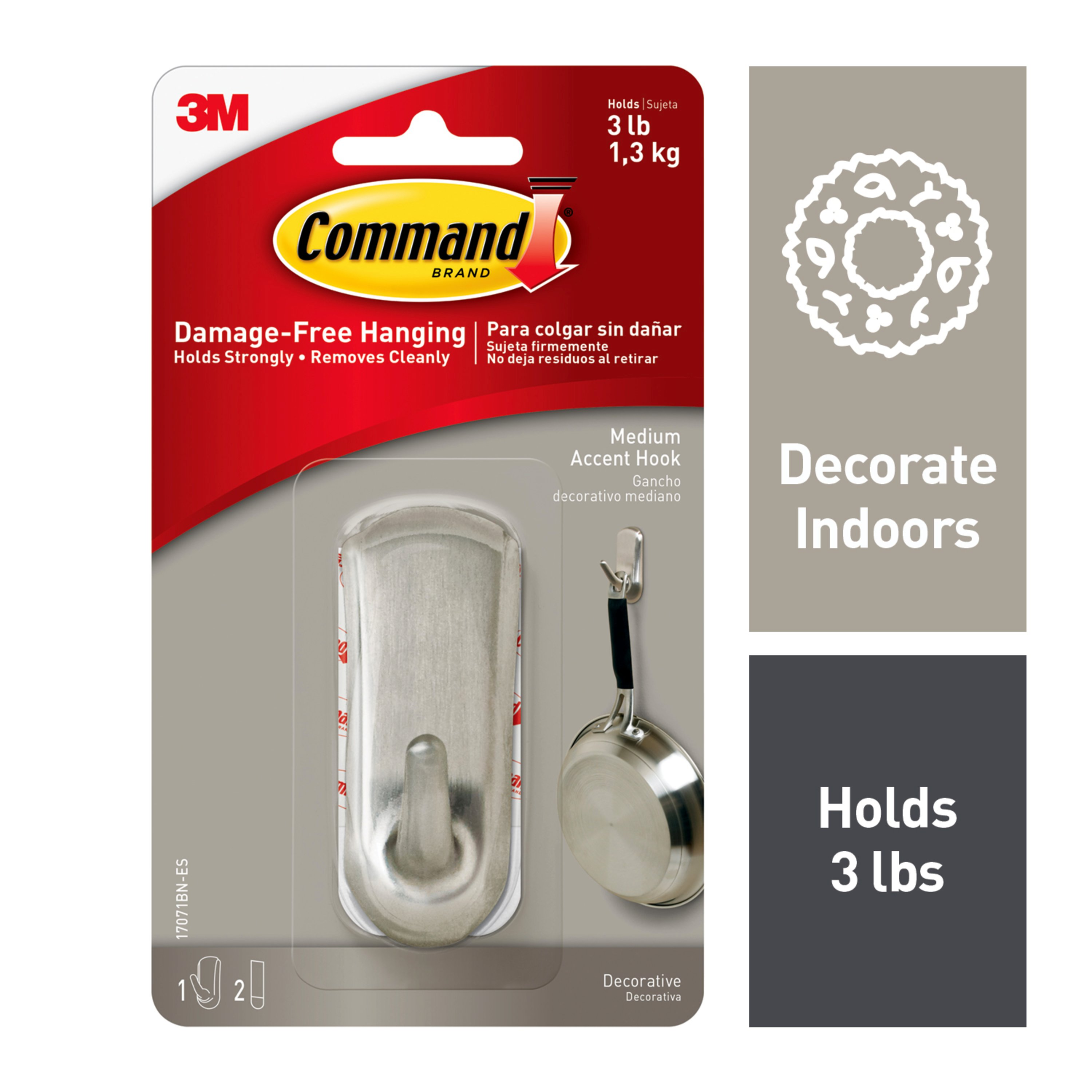 Command Medium Accent Hook, Brushed Nickel, 1 Hook, 2 Strips/Pack
