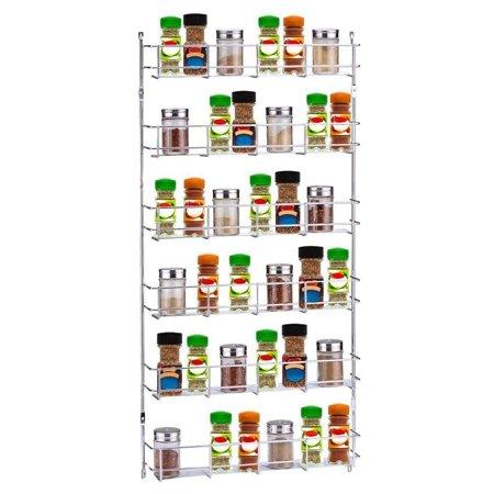 3/6 Layers Metal Spice Rack Kitchen Door Wall Mounted Storage Shelf Multipurpose Pantry Holder Cabinet (Wall Mount Door Holders)