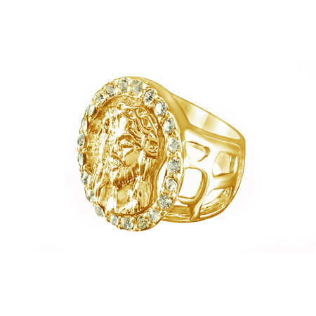White Cubic Zirconia Epic Jesus Christ Face Signet Band Ring In 14k Yellow Gold Over Sterling Silver