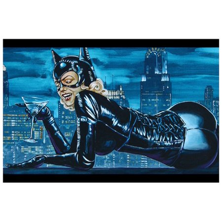 Cat on a Hot Tin Roof by Mike Bell Sexy Cat Woman Bat Man Adult Art Poster Print