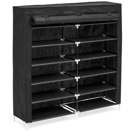 Best Choice Products 6-Tier 36-Shoe Portable Home Shoe Storage Rack Closet Organization System w/ Fabric Cover - Black