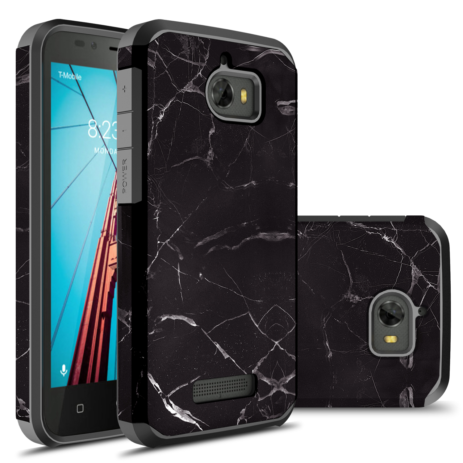 Coolpad Defiant Case, Hybrid Dual Layer Shockproof Hard Cover Graphic Fashion Cute Colorful Silicone Skin Case for Coolpad Defiant - Black Marble
