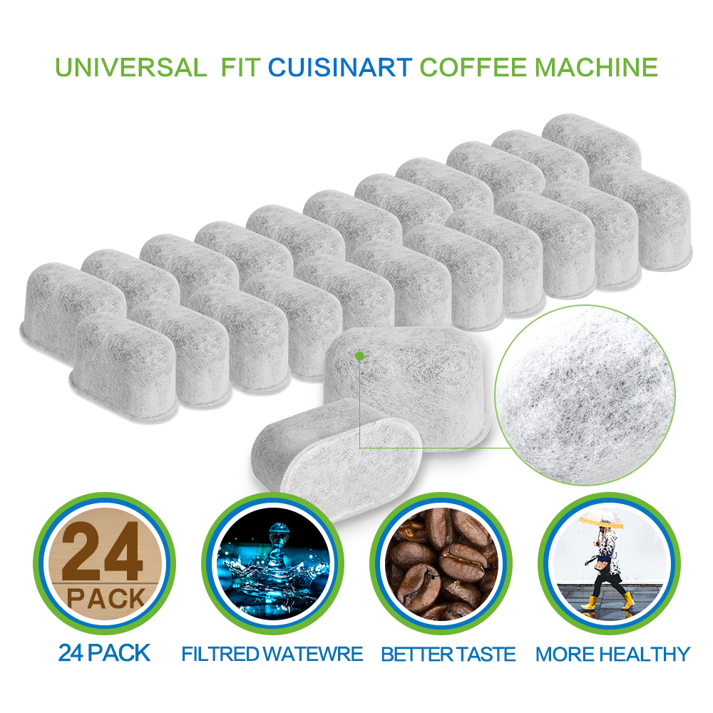12 Replacement Charcoal Water Filters for Cuisinart Coffee Machines, White by