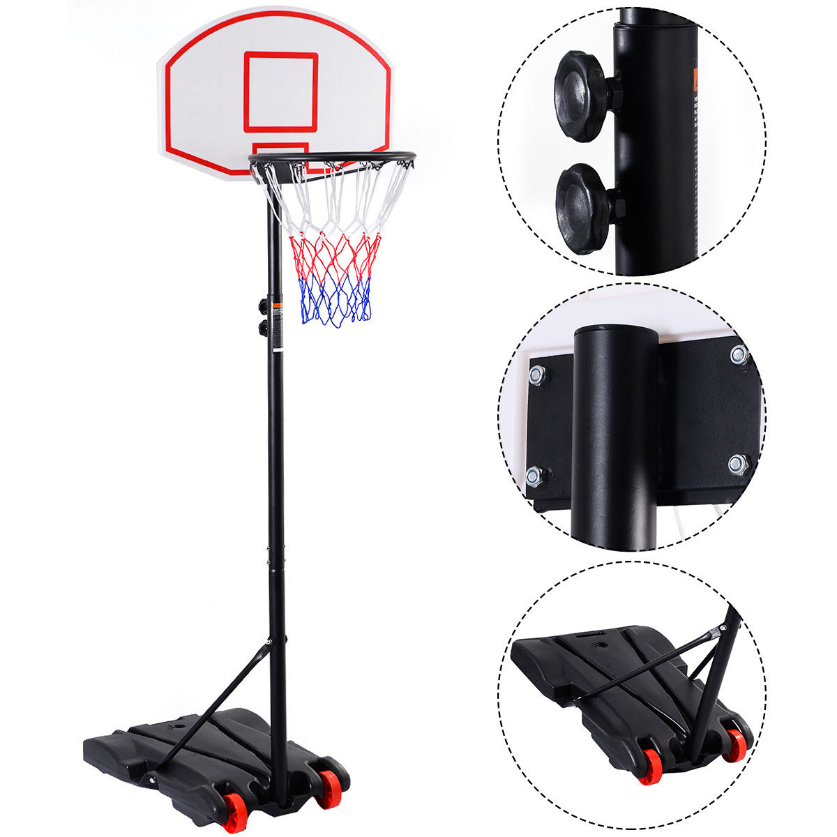 Costway Adjustable Basketball Hoop System Stand Kid Indoor Outdoor Net Goal w  Wheels by Costway