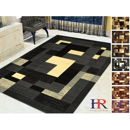 - Handcraft Rugs - Grey/Ivory and White/Modern Rectangular Geometric Frame Pattern Area Rug (Approximately 8 by 10)