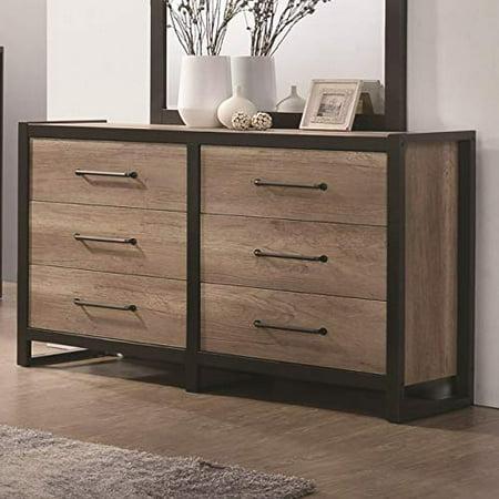 Wood Metal Dresser Natural Oak Brown Black